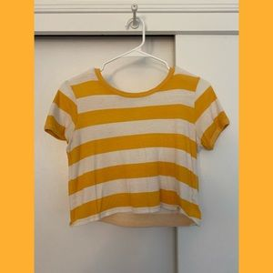 yellow and white striped cropped tee
